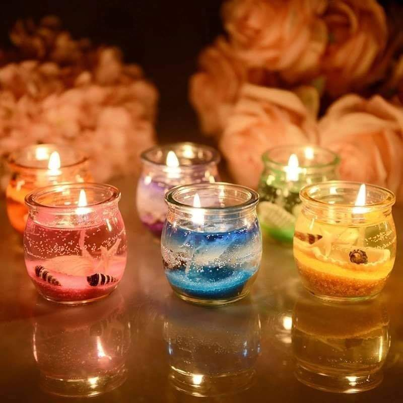 Premium Quality -Pack of 2 Romantic Home decoration Jel Candle Smokeless Jelly Tealight Candles in Glass Holder
