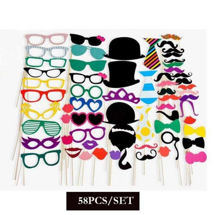 10-60Pcs DIY Photo Booth Props Funny Mask Glasses Mustache Lip On A Stick Birthday Bride Wedding Decoration Party Accessories