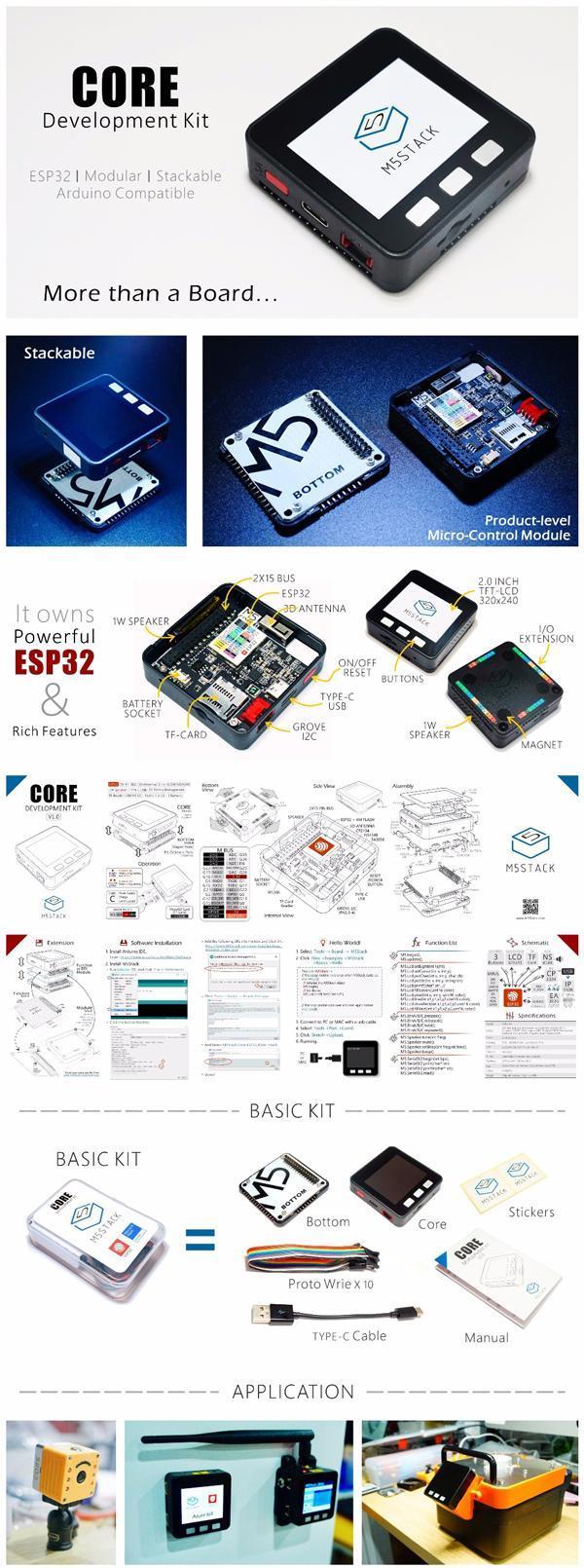 M5Stack ESP32 MPU9250 9Axies Motion Sensor Core Development Kit Extensible  IoT Development Board