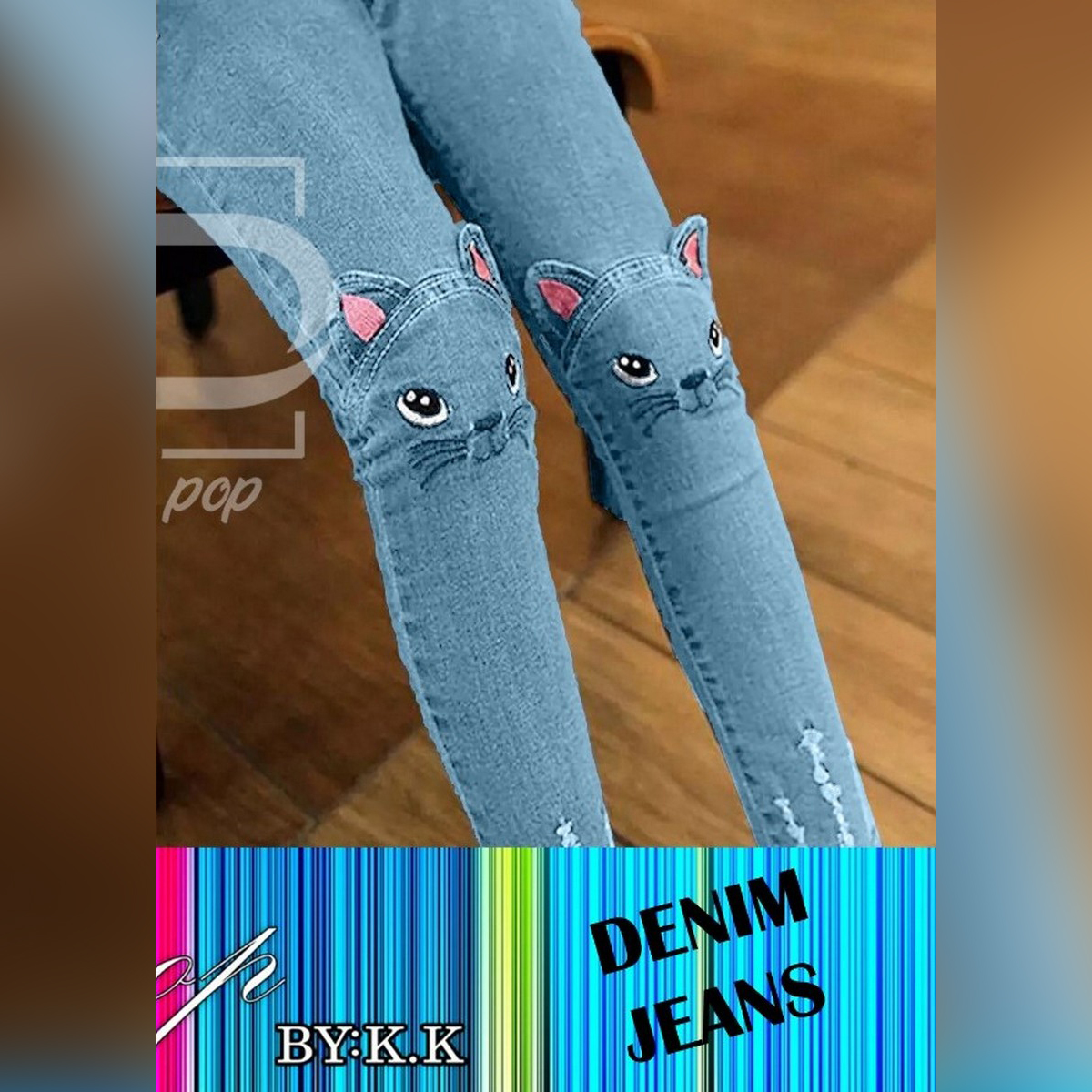 Cat Style Jeans for Girl