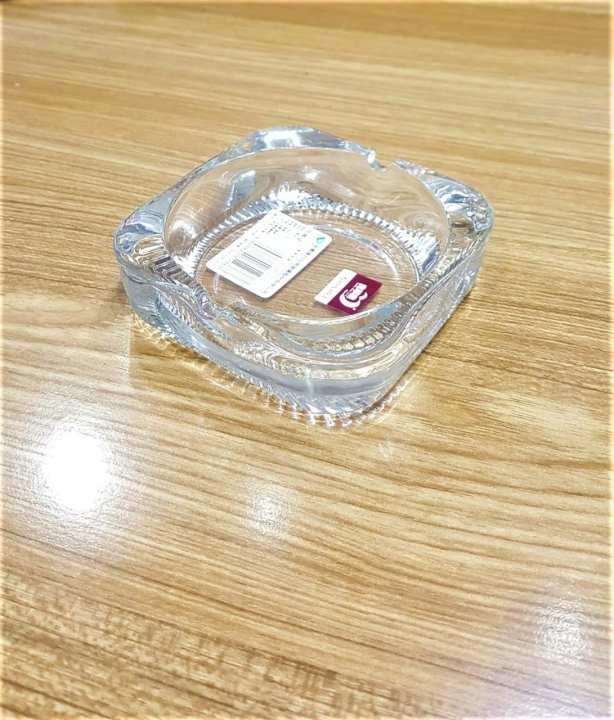 CH  Stylish Transparent Glass Ashtray Squar