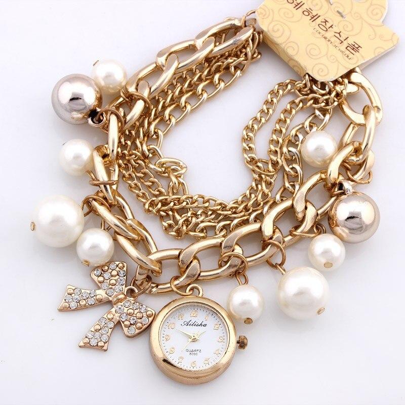 Fancy Golden Watch Pearl Bracelet and Ladies Watches For Girls - Golden Bracelet For Ladies
