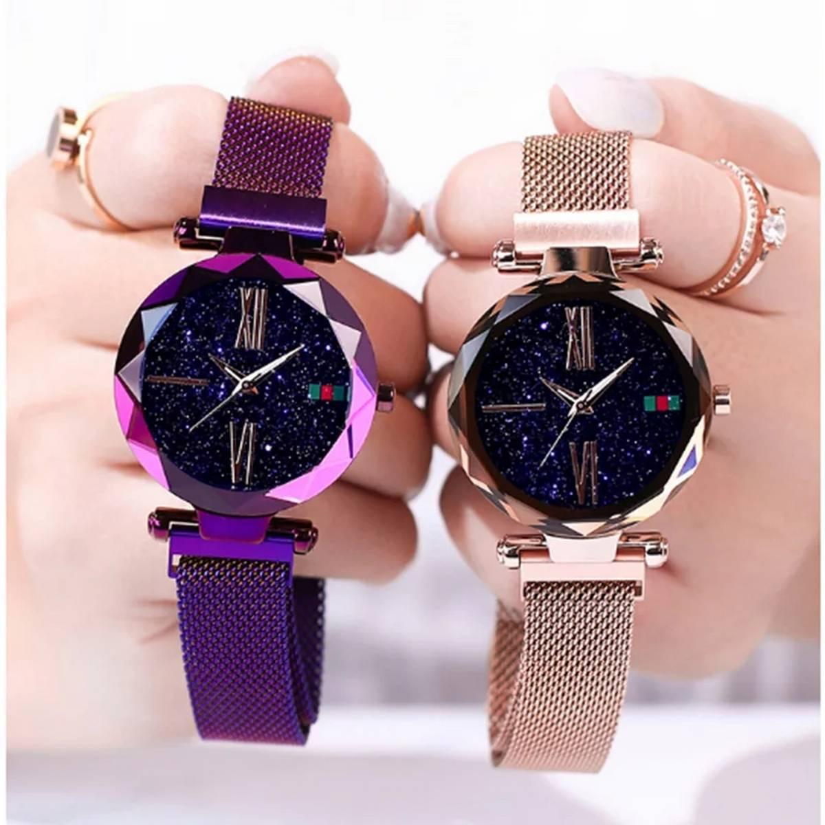 Luxury ladies watch magnet stainless steel mesh with starry fashion diamond female luminous shining quartz watch relogio feminin
