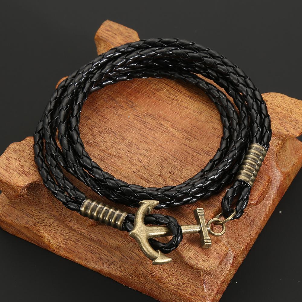Black Multi Layer Braided Bracelet In American Style