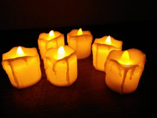 (Pack Of 12pcs) Led Candle White Colour With Orange Light On/Off Button