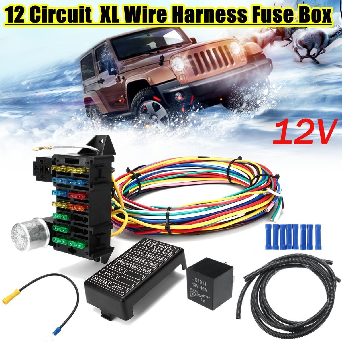 12 Circuit Wiring Harness 14 Fuse 12V Muscle Car Hot Rod Street Rod on
