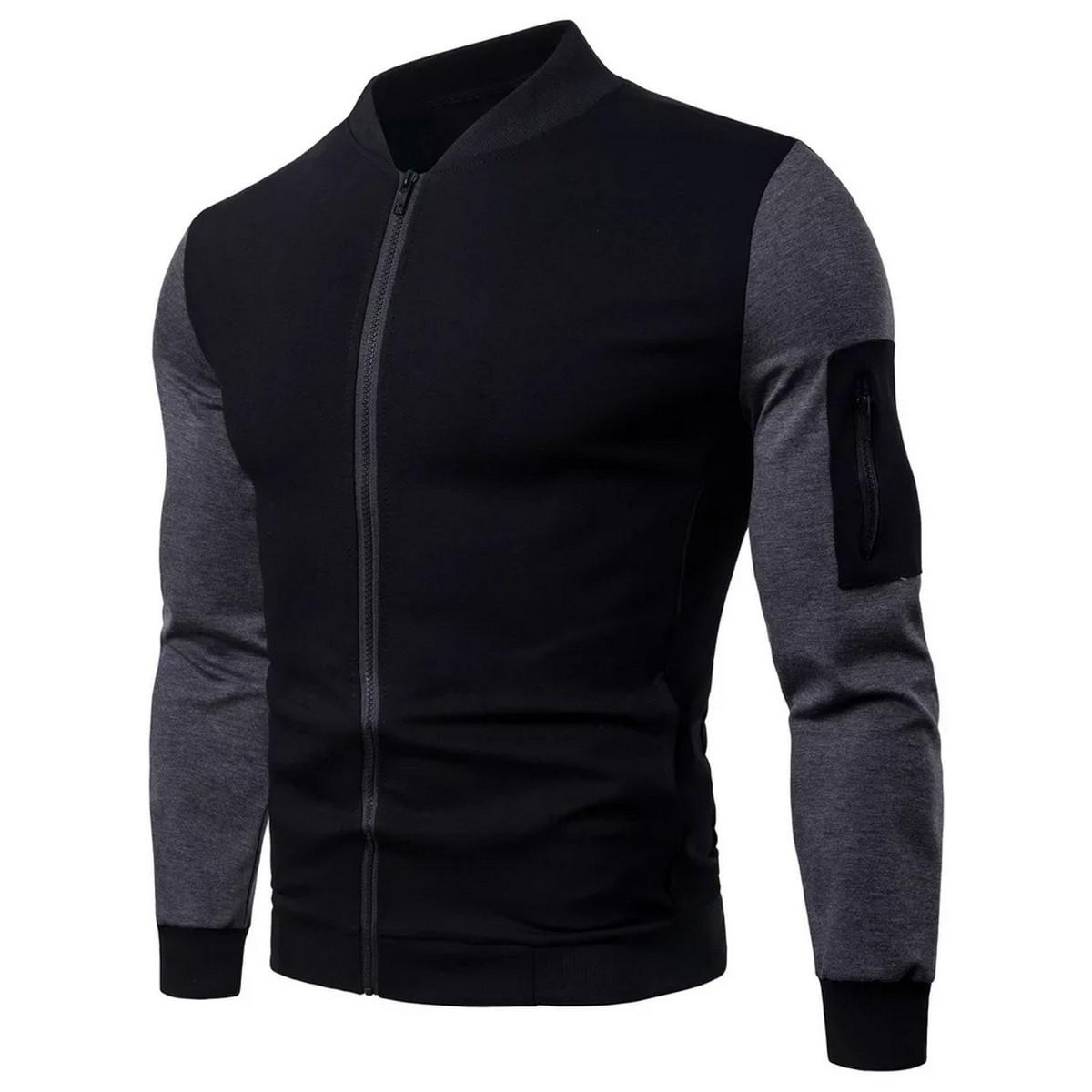 Designer Black Zipper Contrast Sleeves Jacket For Men