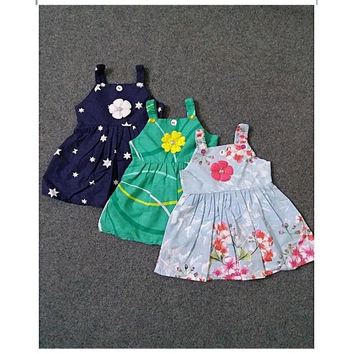 Pack Of 3 Multi-Color Printed Cotton Frock For Girls (Random Design)