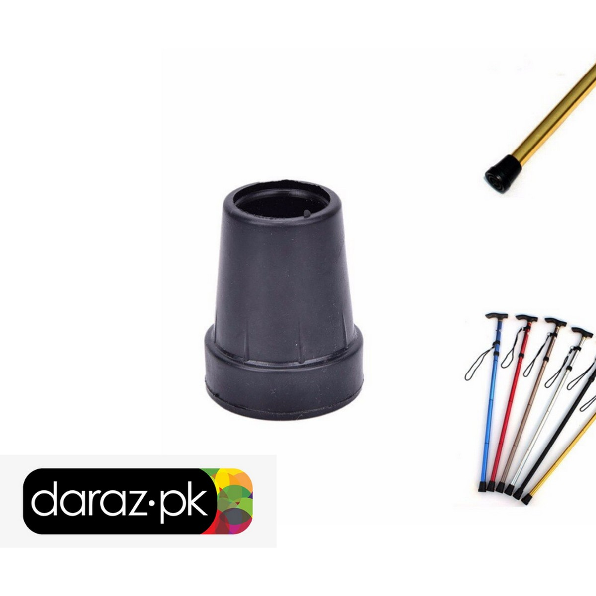 Durable Replacement Walking Stick Rubber/Cane Tips, Extra Stability, Non-Slip Grip Pack of 2