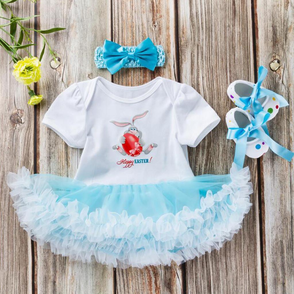 b120e80a8edf Perfect Meet Korean cute fashion 3PCS Toddler Newborn Baby Girls Princess  Easter Rabbit Tutu Dress Outfits