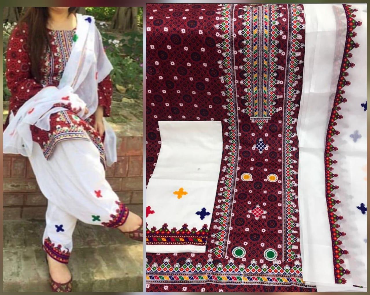 Sindhi Ajrak Emroidered Lawn 3 Piece Suit With Chiffon Dupatta