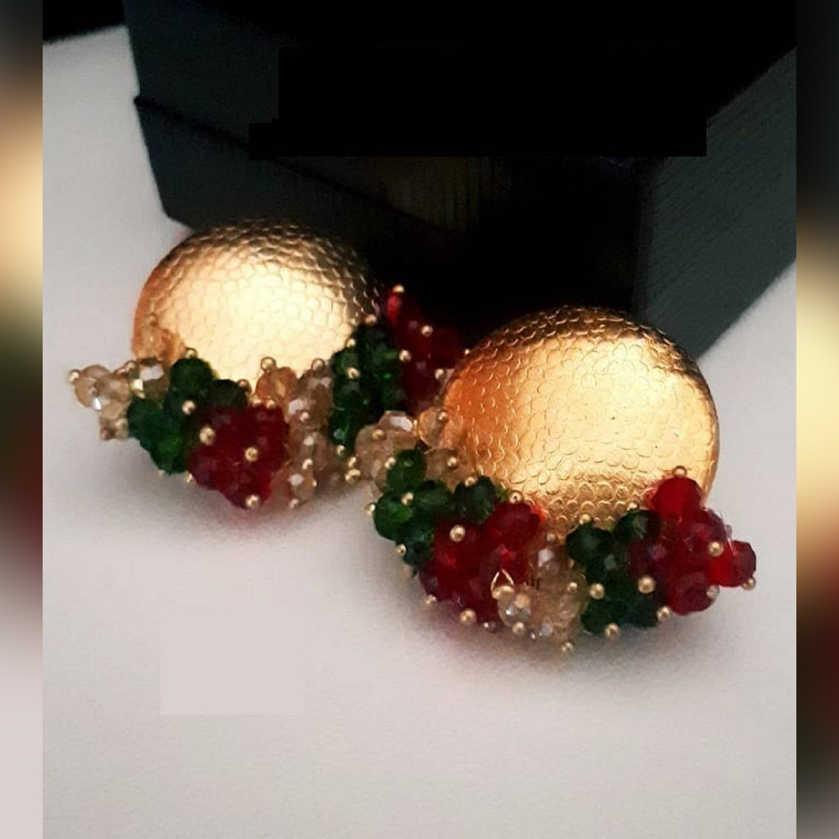Golden Earrings with pearl droppers For Women