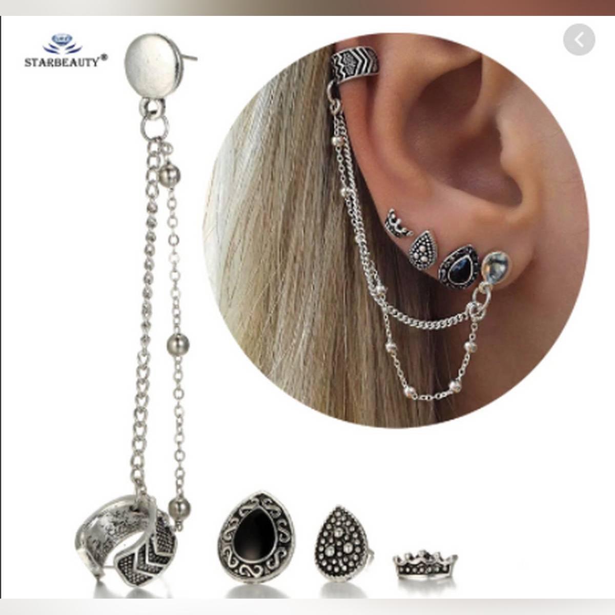 Fashion 4PCS/Set Royal Crown Bijoux Heart Long Chain Tassel Earrring Helix Piercing Women Jewelry