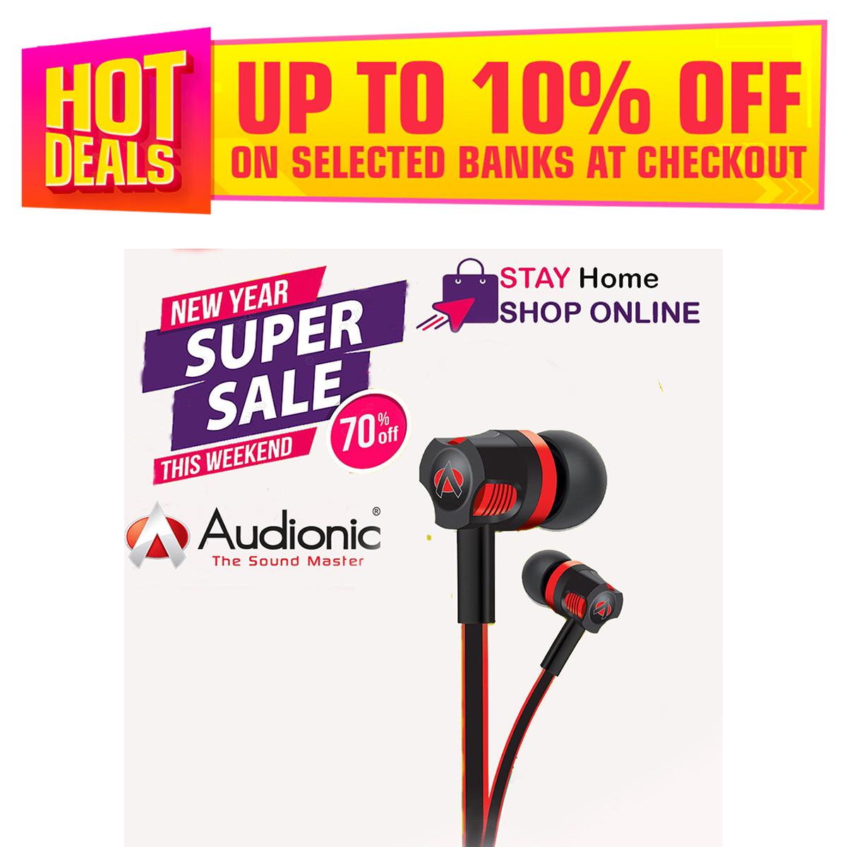 Audionic t50 handfree thunder sound Super Bass Stereo Sound earphone + Hand free for Huawei \Samsung Handfree