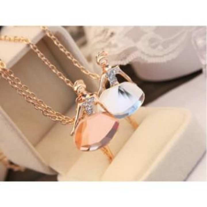 Gold / Silver Chain Shiny Crystal Ballerina Girl Pendant Necklace Statement Long Necklace Jewelry