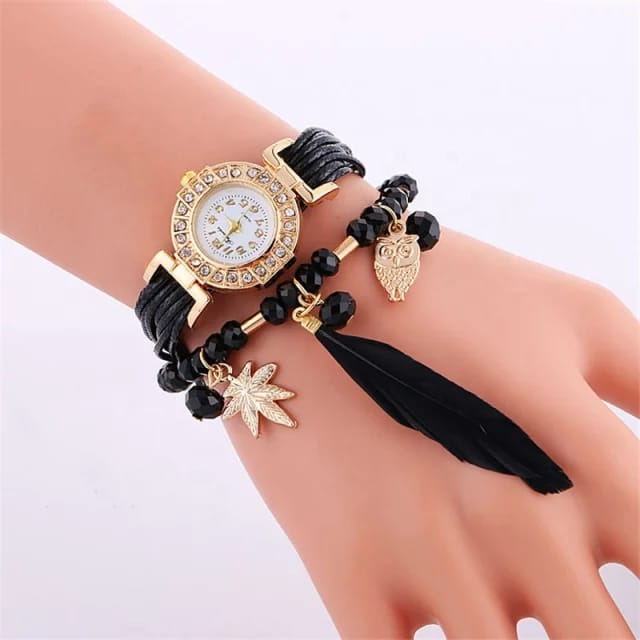 White Beautiful Feather Layers Watch With Box