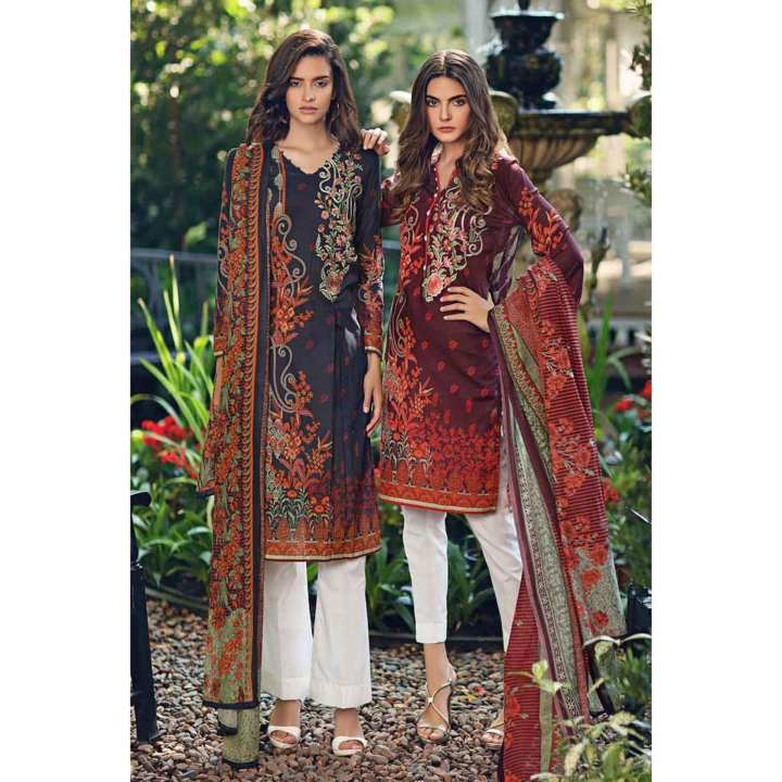 """GUL Ahmed-Summer Special Edition 2019 Maroon Lawn-2PC Unstitched-TL-206 A-208339"""