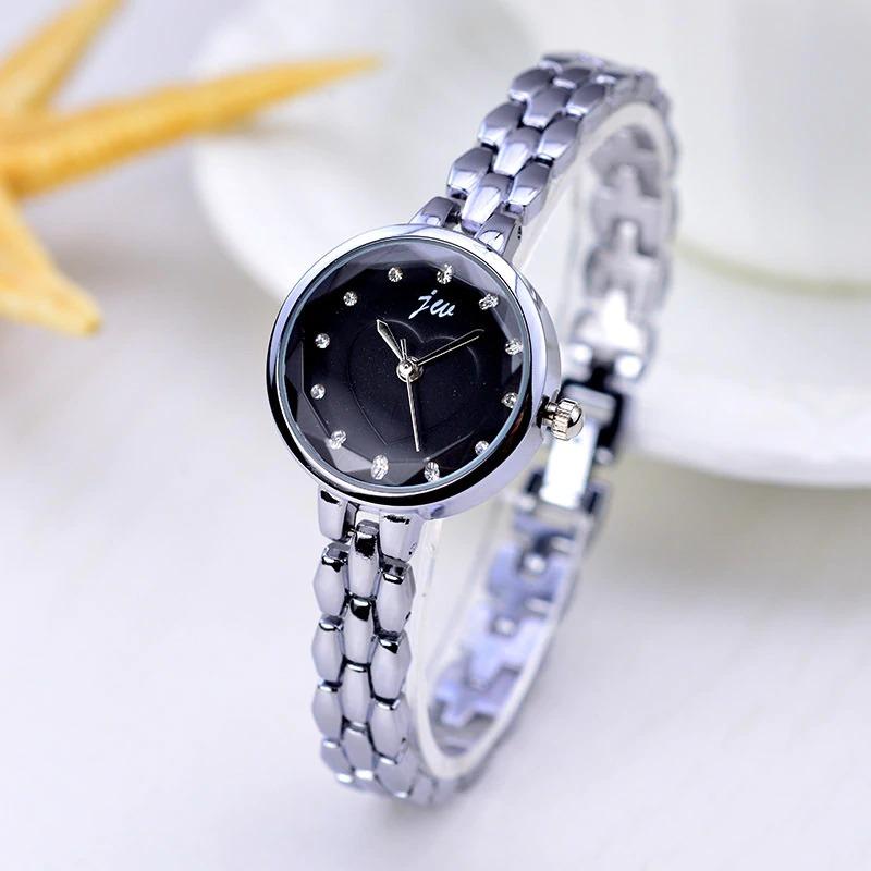 Sliver Chain Quartz Watch Women Luxury Bracelet Watches Ladies Dress Crystal Wristwatches With Free Gift Box