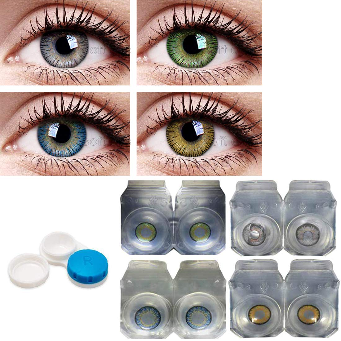 1Pair 3 Tone Colored Contact Lenses For Eyes Cosmetic Colorful Beauty Colored Contacts Lenses Blue Color Contact Lens Eye With Case & Solution