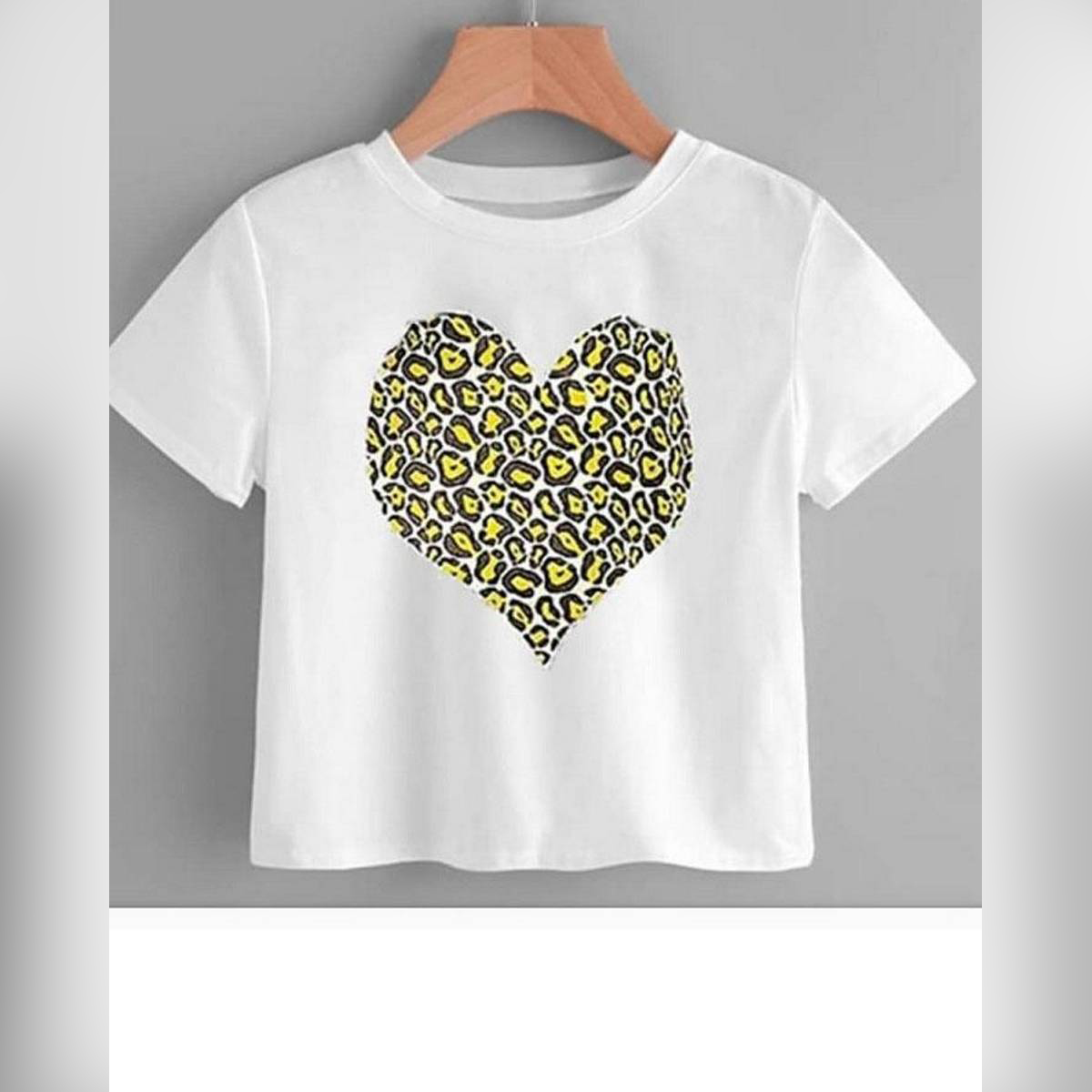White Printed Heart Cropped Top For Women