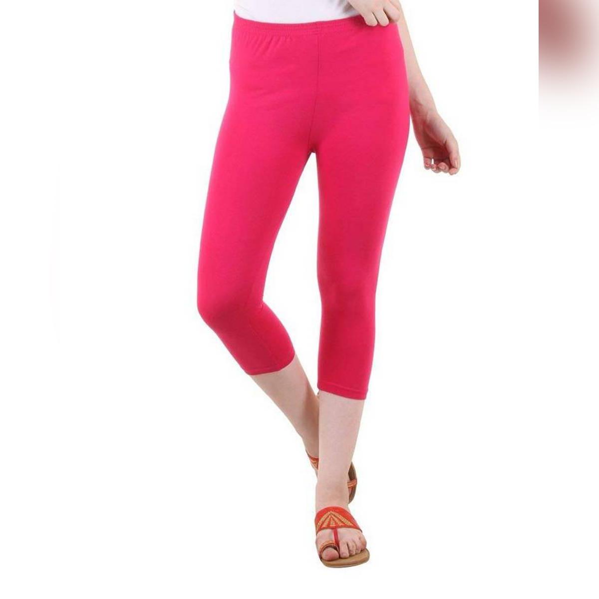 Hot Pink Cotton Capri Leggigns For Women