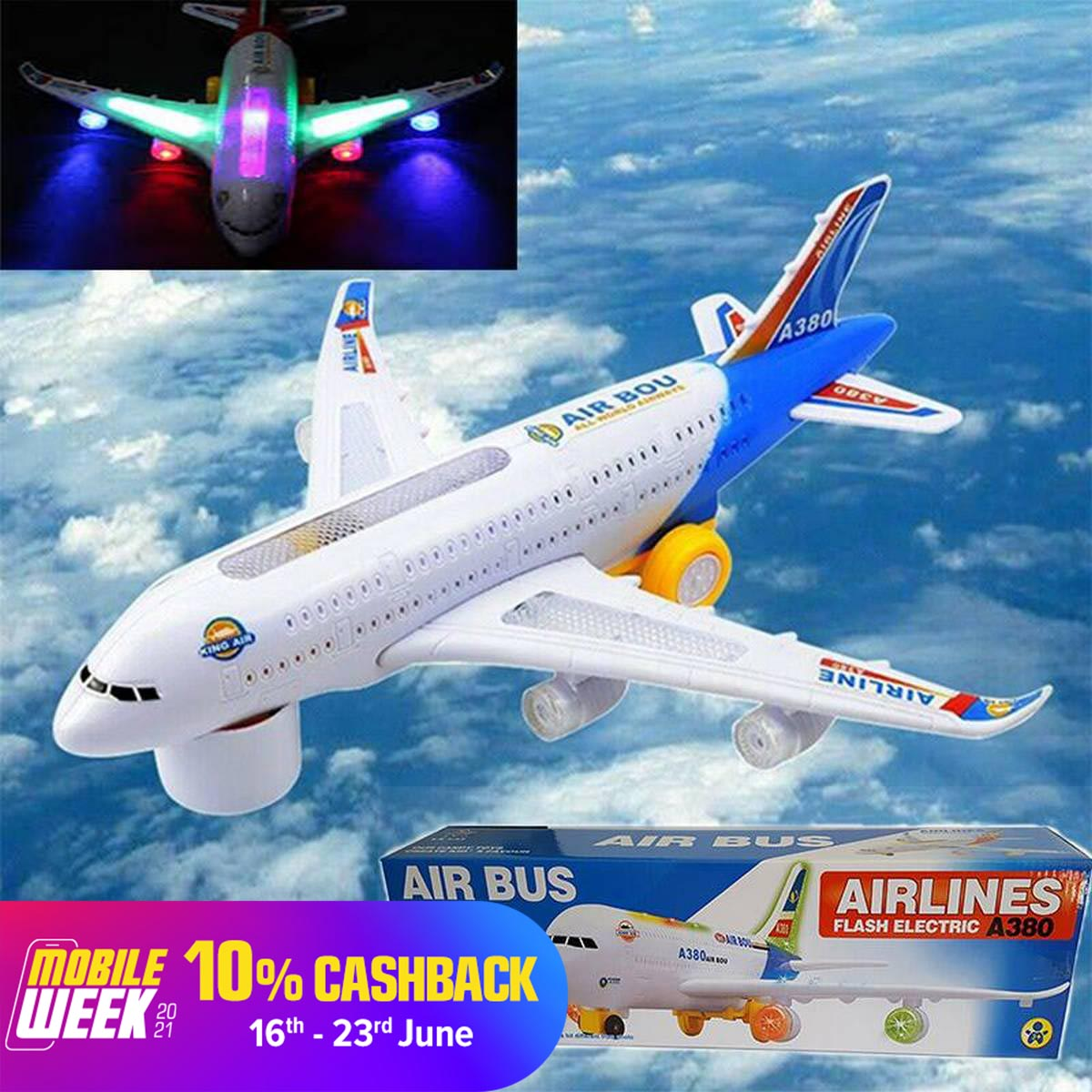 Airbus A380 Airlines Model Aeroplane Electric Toy Lights Sounds Kids
