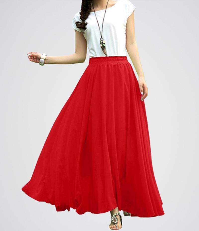 Retro Maxi Linen Long Skirt With Shirt, Skirt For Girls, Linen Skirt, Maxi Skirt (Red And White).