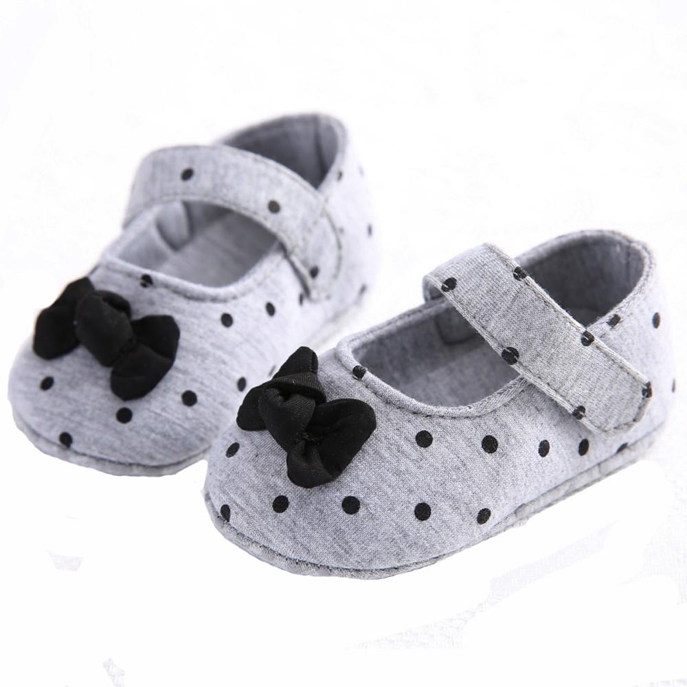 Baby Girl Soft Sole Shoes Dots Bowknot Toddler Anti-slip Shoes Newborn To Mother & Kids Baby Shoes