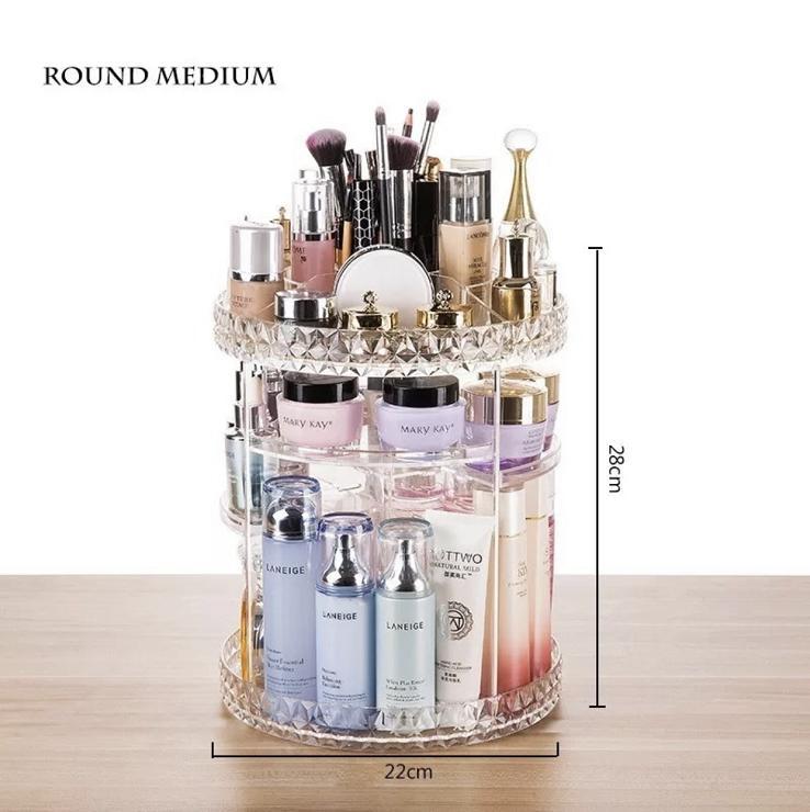 360 Degree Rotating Makeup Storage Rack Height Adjustable Cosmetics Organizer Assembly Skin Care Holder Bathroom Display Case