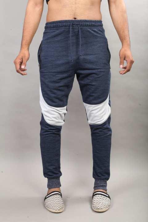 Blue Cotton Outer White Stripe Trouser For Men Street wear