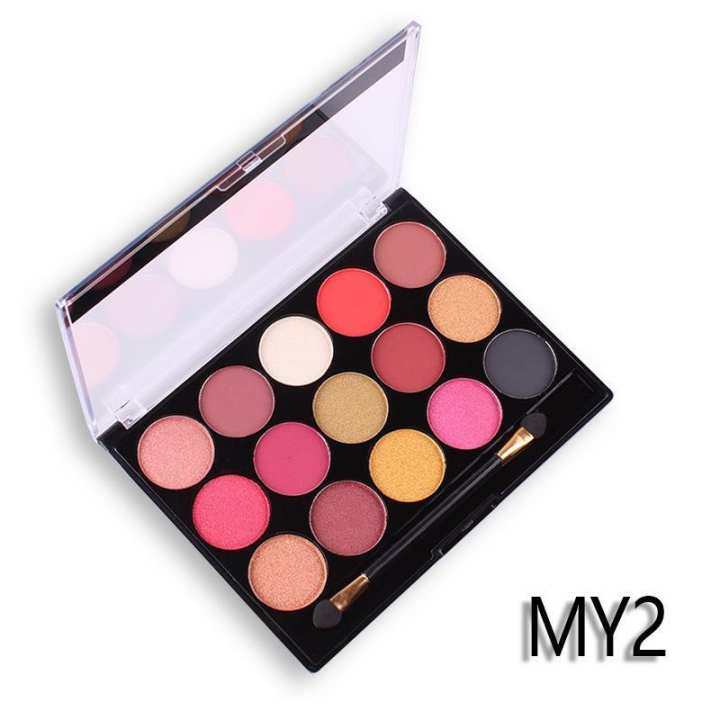 MISS ROSE 15 color pearlescent matte eye shadow professional makeup multi-color eye shadow 02