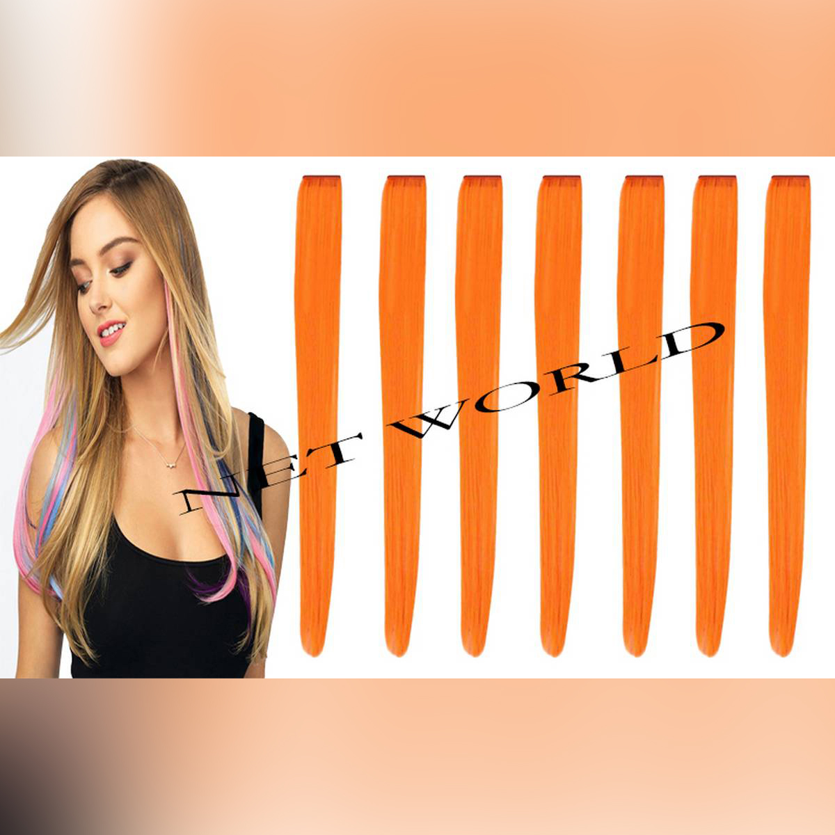 Pack Of 6 Long Straight Synthetic Clip in on Hair Extensions Piece Bundle Offer