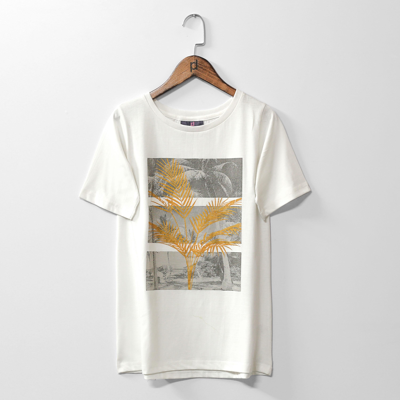 Polkadots Summer Scene Printed White Half Sleeves Jersey Tshirt For Women and Girls
