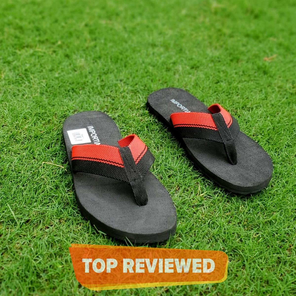 Importia Black Summer Slippers/Flipflops for Men