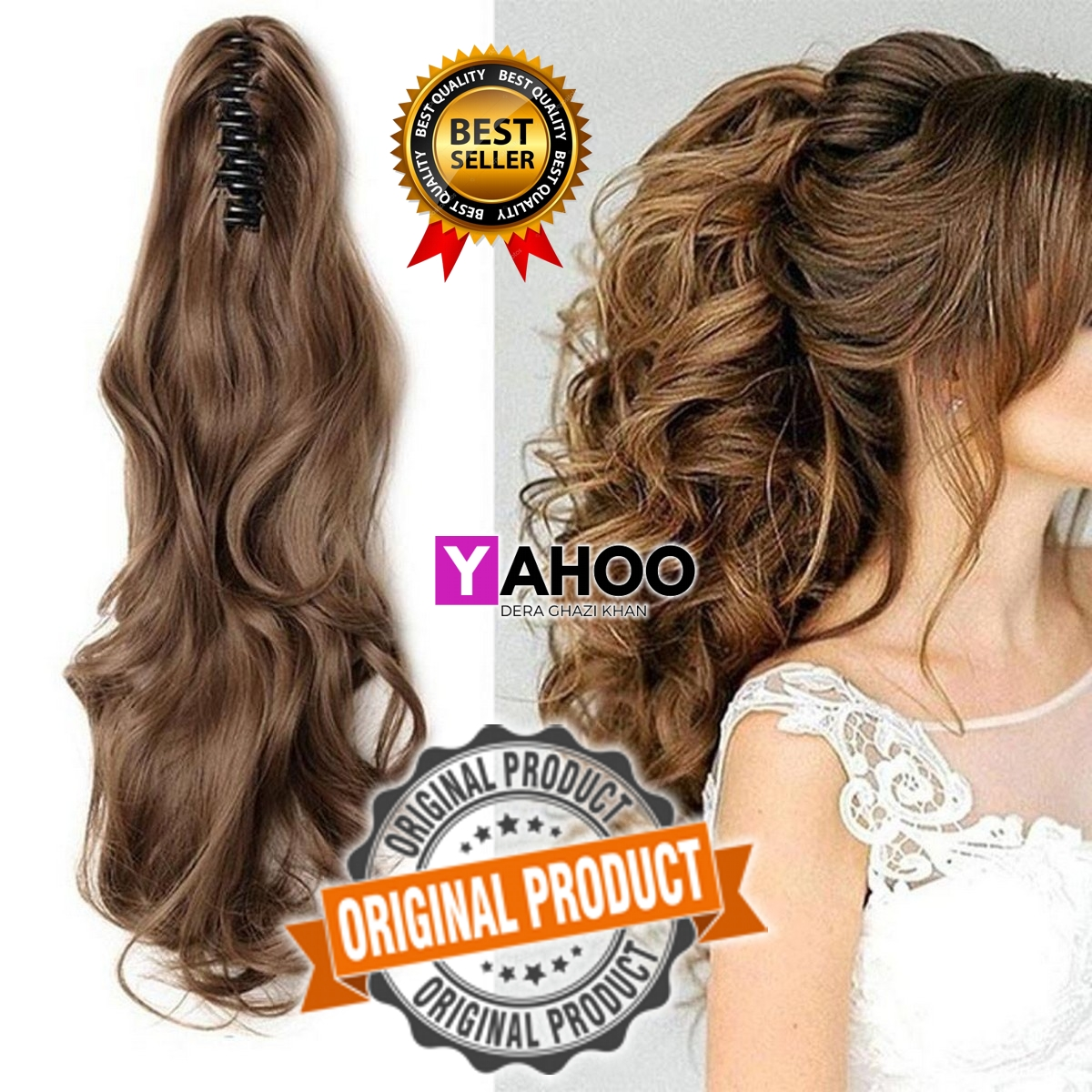 Hair Wig Aloha Soft Hair Claw Clip Pony Tail 26 Inches Long - Golden Brown