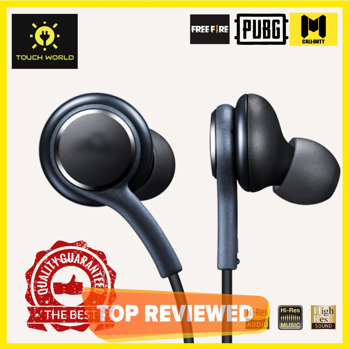 TOUCH WORLD - Best Universal Original Handsfree - Quality Stereo Bass Sound for PUBG Gamming Watching Movies  - Wired with Mic Super comfortable handfree for girls men - 3.5mm jack Earphones  Ear Buds , Head phones for Android Mobile Phones Tablet PC