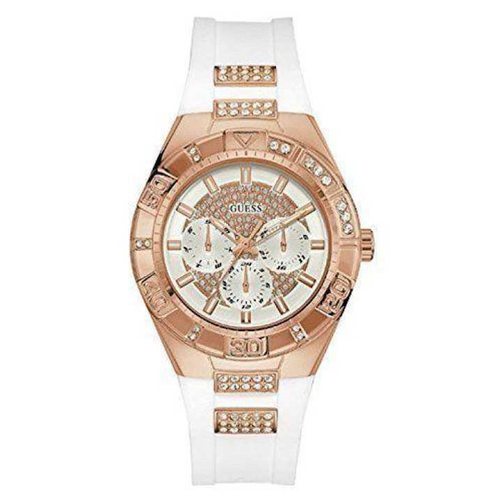 Guess Luna Crystal White Silicone Strap Ladies Watch Watch