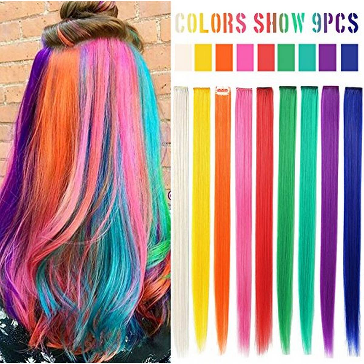 Pack of 9 Long Straight Hair Clip Extentions - Multicolour