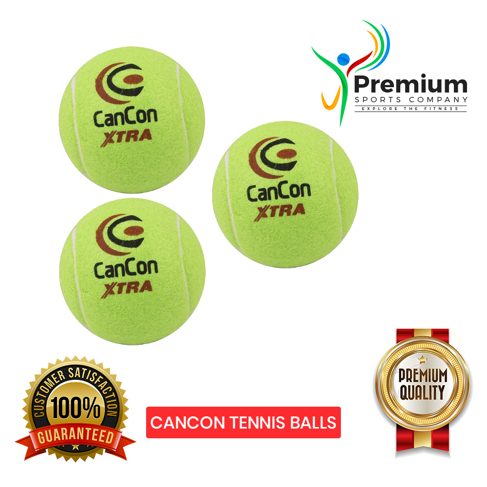 PREMIUM SPORTS Pack of 3 Quality Cancon Extra Tennis Balls For Tape Ball Cricket - Durable, Superior Bounce, Great For Practice - MultiColor
