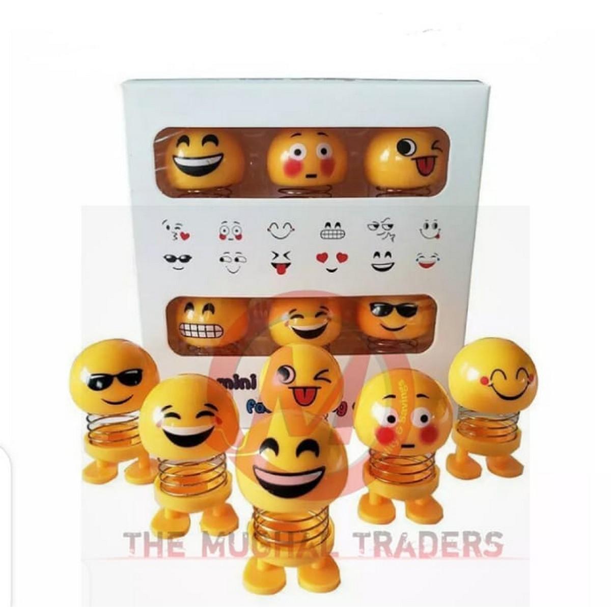 6 Pcs Cute Emoji Mini Shaking Head Car Ornament Dolls Funny Smile Face