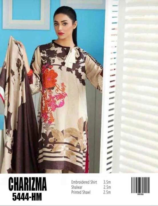 CHARIZMA LAWN EMROIDED SUIT WITH CHIFFOON DUPATTA