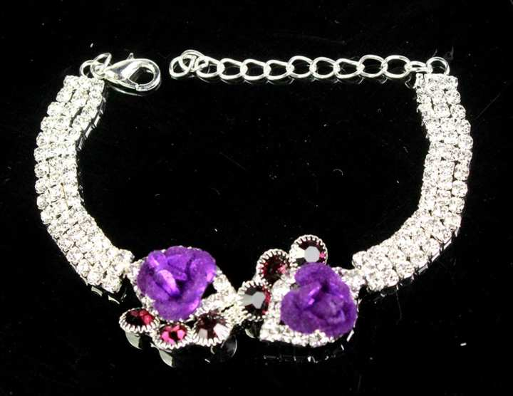 Silver Chain Bracelet With Zircon ,2 Purpel Flowers and Rad Stones For Women ,Girls ,Her