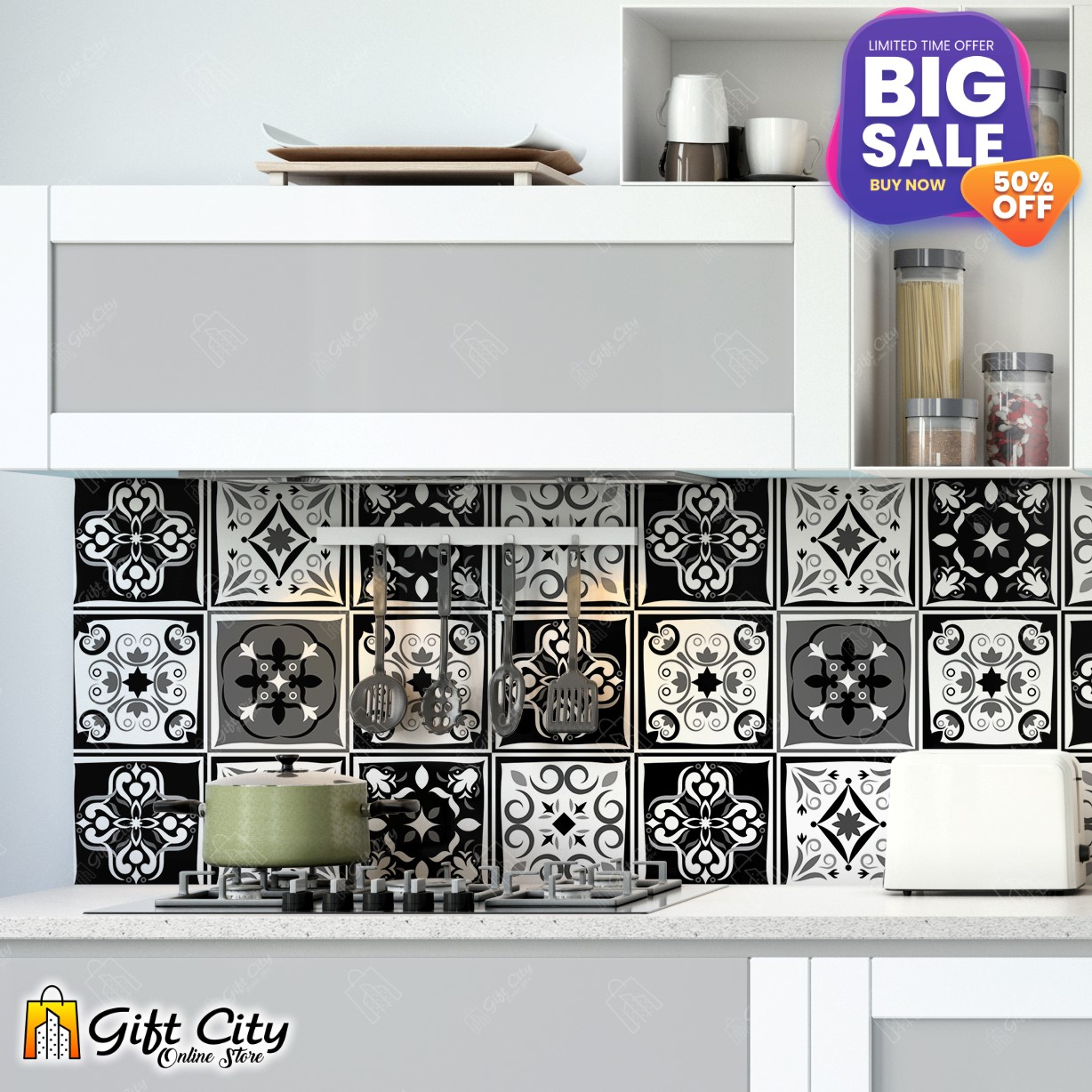 Tile Stickers Black & White Pattern Pack of 6 / 12 / 24 / 48 / 102 pieces for Home Decor for Walls Self Adhesive Tile Sticker 4.7 in by 4.7 in