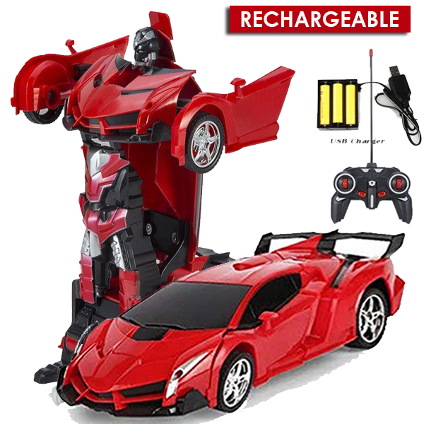 Rechargeable Robot Remote Control RC Car Transformation Robot Car Kids Toy 2 In 1 Package Robot + Car With Rechargeable Batteries Premium Product Action Figure Toy, Bumblbee Transformer Robot Toy