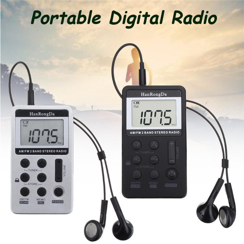 Mini Digital Portable Pocket LCD AM FM Radio 2 Band Stereo Receiver w// Headphone