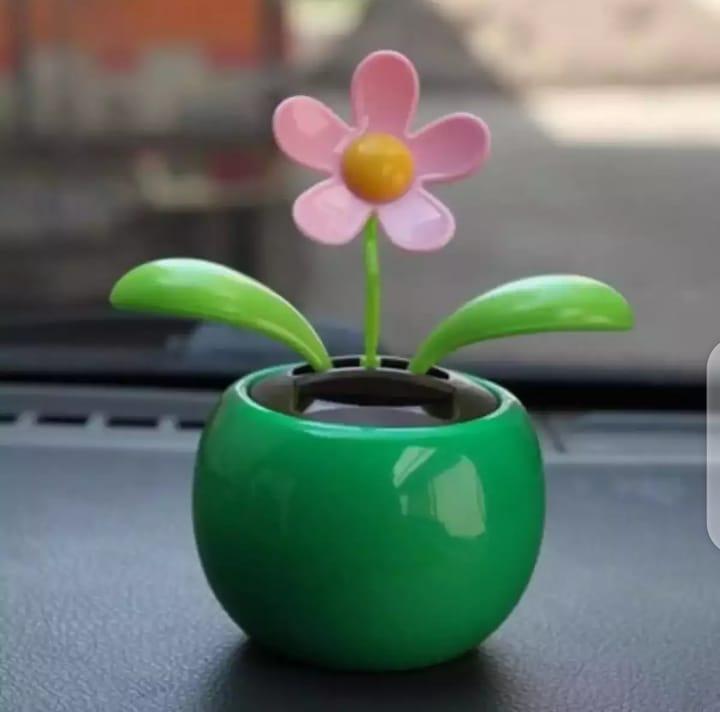 Car Decoration Solar Powered Dancing Flower Swinging Animated Dancer Toy GREEN