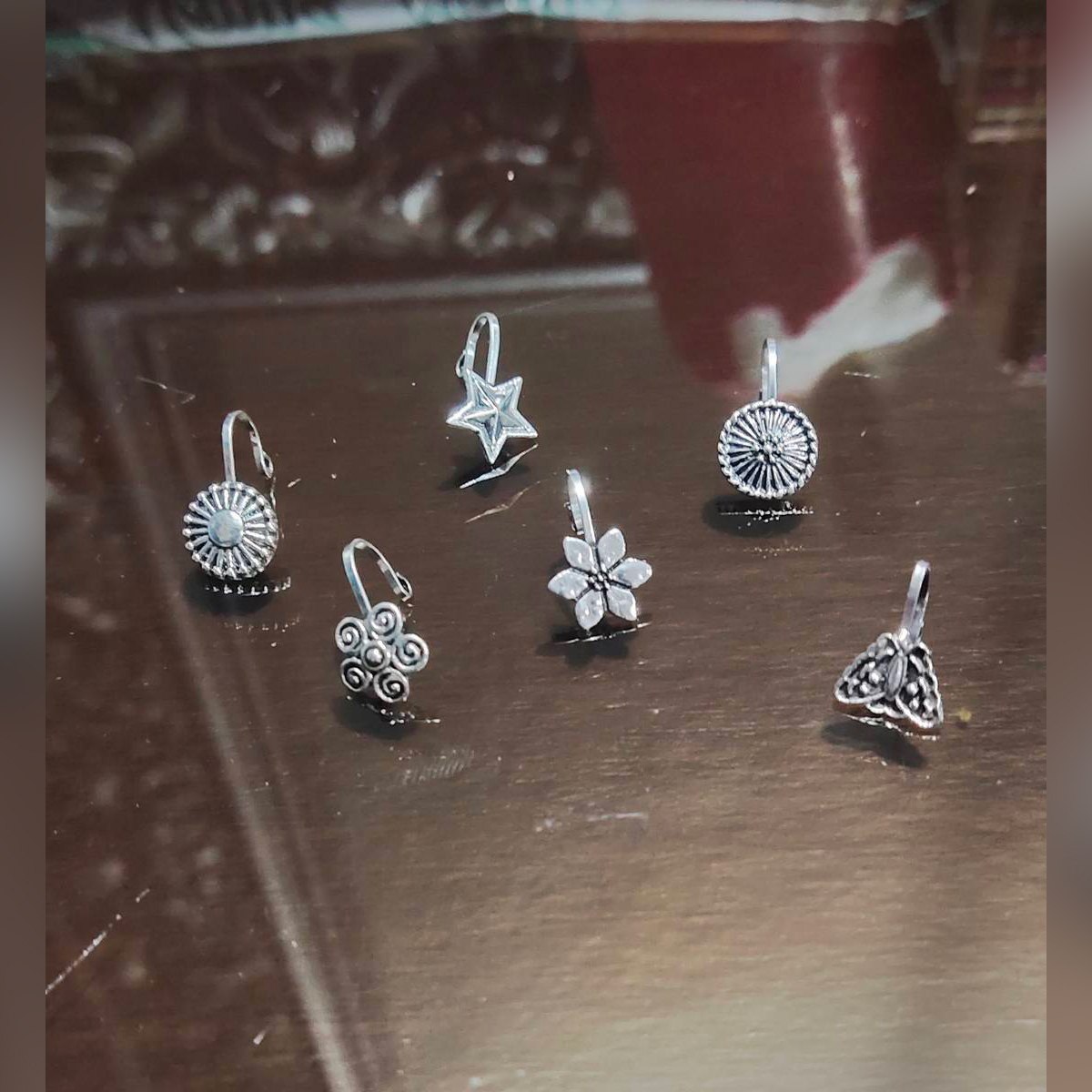 Set of 12 Nose Stud : Fashion Pressing Oxidized nose Pin For Girls and Womens in Silver and Golden Colour with Different Designs