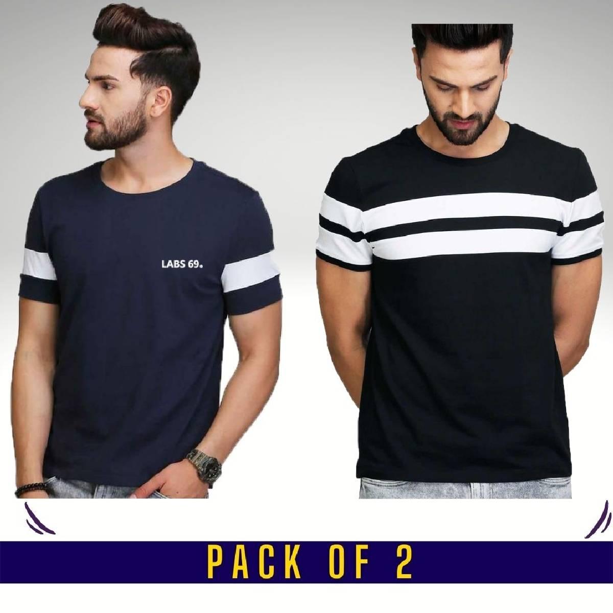 High Quality Pack of 2 Half Sleeves Designer T-shirts For Men For Summer