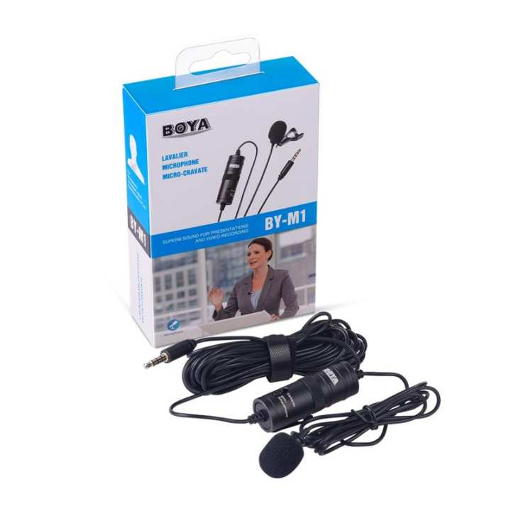 BOYA BY-M1 Professional Microphone 6M Lavalier Stereo Audio Recorder Interview Clip Microphone for Smartphones, DSLR, Audio Recorders