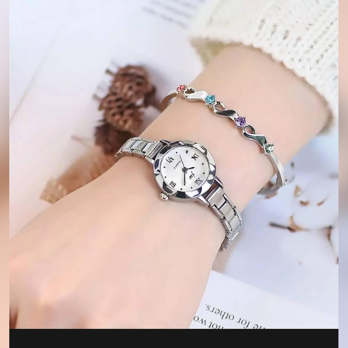 Stylish Fancy Silver Ladies Jewellery Watch